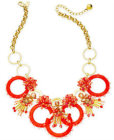 "kate spade new york Gold-Tone Stone, Bead & Wrapped Hoop Statement Necklace, 17"" + 3"" extender"