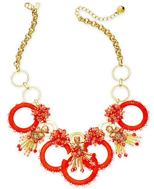 882d74b46aa786 kate spade new york Gold-Tone Stone, Bead & Wrapped Hoop Statement Necklace,