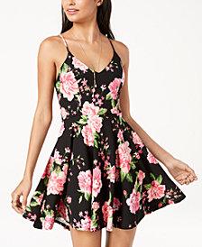 B Darlin Juniors' Printed Lace-Back Fit & Flare Dress