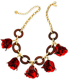 "kate spade new york Gold-Tone & Wood Flower Statement Necklace, 18"" + 3"" extender"
