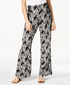 Rewash Juniors' Printed Smocked-Waist Pants