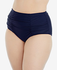 Raisins Curve Trendy Plus Size Costa Shirred High-Waist Tummy-Control Briefs
