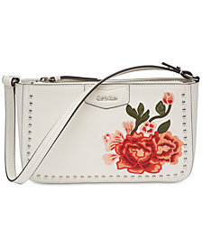 Calvin Klein Leather Floral Shoulder Bag