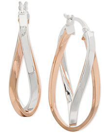 "Giani Bernini Medium Two-Tone Twist Hoop Earrings in Sterling Silver & 18k Rose Gold-Plate, 1.3"", Created for Macy's"