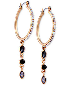 GUESS Gold-Tone Crystal & Stone Hoop Earrings