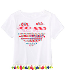 GUESS Big Girls Embroidered Tassel-Trim Cotton T-Shirt