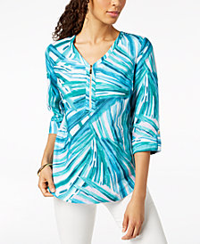 JM Collection Printed Linen Henley Top, Created for Macy's