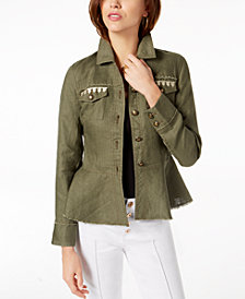 I.N.C. Linen Embroidered Peplum Jacket, Created for Macy's