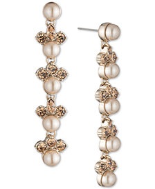 Givenchy Gold-Tone Imitation Pearl & Crystal Linear Drop Earrings