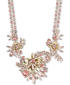 "Givenchy Gold-Tone Crystal & Pavé Floral Necklace, 16"" + 3"" extender"