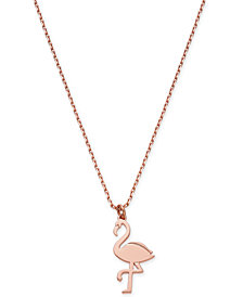 "kate spade new york Rose Gold-Tone Flamingo Pendant Necklace, 17"" + 3"" extender"