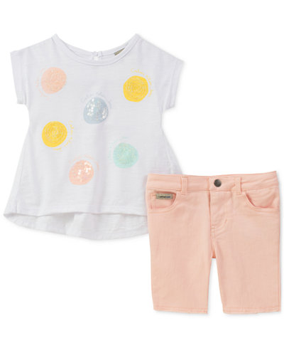 Calvin Klein Little Girls 2-Pc. Sequin T-Shirt & Denim Shorts Set