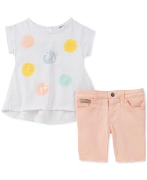 Calvin Klein Little Girls 2Pc Sequin TShirt  Denim Shorts Set