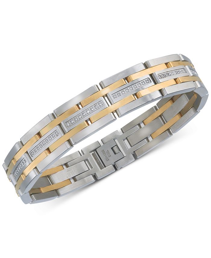 Esquire Men's Jewelry - Diamond Two-Tone Bracelet (1/2 ct. t.w.) in Stainless Steel & Gold-Tone Ion-Plating