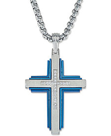 "Esquire Men's Jewelry Diamond Cross 22"" Pendant Necklace (1/10 ct. t.w.) in Stainless Steel & Ion-Plate, Created for Macy's"
