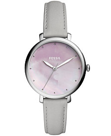 Fossil Women's Jacqueline Gray Leather Strap Watch 36mm