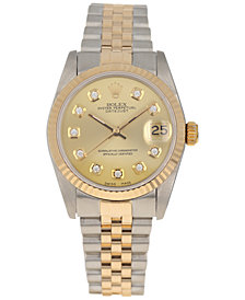 Pre-Owned Rolex Women's Swiss Automatic Datejust Jubilee Diamond (1/8 ct. t.w.) 18K Gold & Stainless Steel Bracelet Watch 31mm