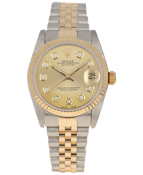 545cf6675c8d Pre-Owned Rolex Women s Swiss Automatic Datejust Jubilee Diamond (1 8 ct.