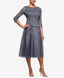 Alex Evenings Embellished Lace Tea-Length Dress