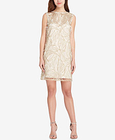 Tahari ASL Embellished Feather-Trim Dress