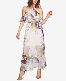 CeCe Printed Cold-Shoulder Maxi Dress