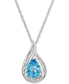 "Blue Topaz (1-5/8 ct. t.w.) & Diamond (1/10 ct. t.w.) 17"" Pendant Necklace in 14k White Gold"