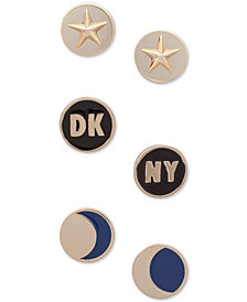 DKNY Gold-Tone 3-Pc. Set Circular Stud Earrings, Created for Macy's