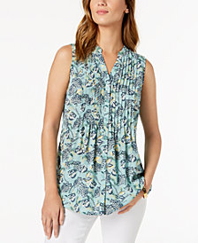 Charter Club Sleeveless Pleated Printed Shirt, Created for Macy's