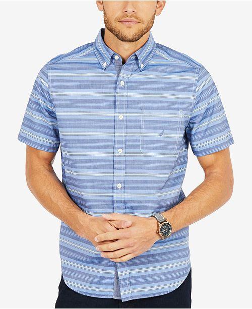 a84e95bb96 Nautica Men's Casual Striped Classic Fit Short Sleeve Shirt ...