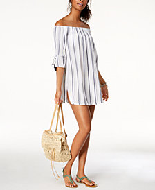 Lucky Brand Cotton Striped Off-The-Shoulder Cover-Up