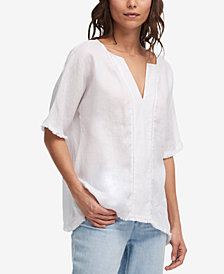 DKNY Linen Frayed-Trim Top, Created for Macy's