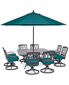 "CLOSEOUT! Glenwood Outdoor  9-Pc. Dining Set (64"" X 64"" Dining Table & 8 Swivel Rockers) with Sunbrella® Cushions, Created for Macy's"