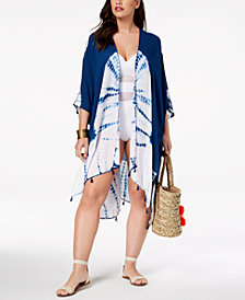 Raviya Plus Size Tie-Dyed Kimono Cover-Up