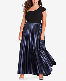 City Chic Trendy Plus Size Pleated One-Shoulder Gown
