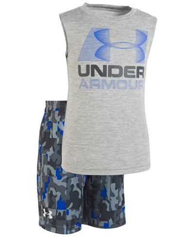 Under Armour Little Boys 2-Pc. Logo-Print Tank & Printed Shorts Set