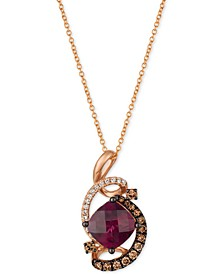 "Raspberry Rhodolite® (1-3/4 ct. t.w.) & Diamond (3/8 ct. t.w.) 18"" Pendant Necklace in 14k Rose Gold"