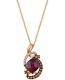 "Le Vian® Raspberry Rhodolite® (1-3/4 ct. t.w.) & Diamond (3/8 ct. t.w.) 18"" Pendant Necklace in 14k Rose Gold"