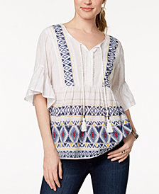 Style & Co Geo-Trim Peasant Top, Created for Macy's