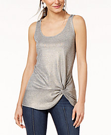 I.N.C. Petite Twist-Front Ribbed Tank Top, Created for Macy's