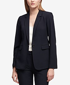 Petite Pick-Stitch Single-Button Blazer