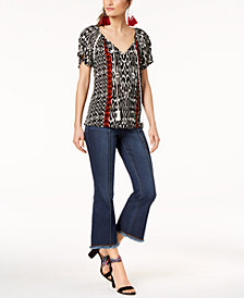 I.N.C. Printed Tasseled Top & Cropped Flare-Leg Jeans, Created for Macy's