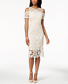 JAX Embroidered Cold-Shoulder Dress