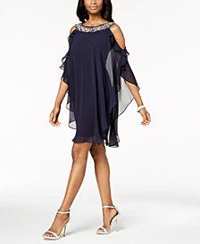 XSCAPE Petite Embellished Cold-Shoulder Overlay Dress