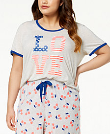 Jenni by Jennifer Moore Plus Size Graphic-Print Contrast-Trim Pajama Tank, Created for Macy's
