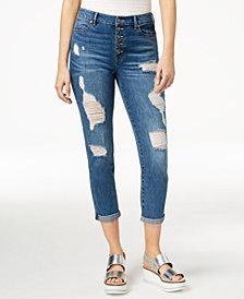 Rewash Juniors' Ripped Rolled-Hem Skinny Jeans