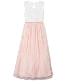 Speechless Little Girls Glitter Lace Maxi Dress