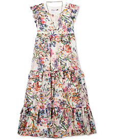 Speechless Big Girls 2-Pc. Floral-Print Maxi Dress & Necklace Set