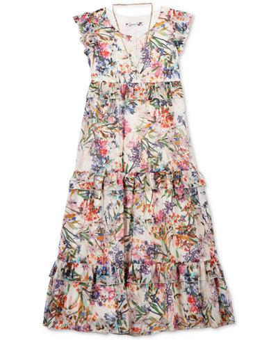 Speechless Big Girls 2-Pc. Floral-Print Maxi Dress & Necklace Set