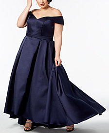 XSCAPE Plus Size Off-The-Shoulder Gown