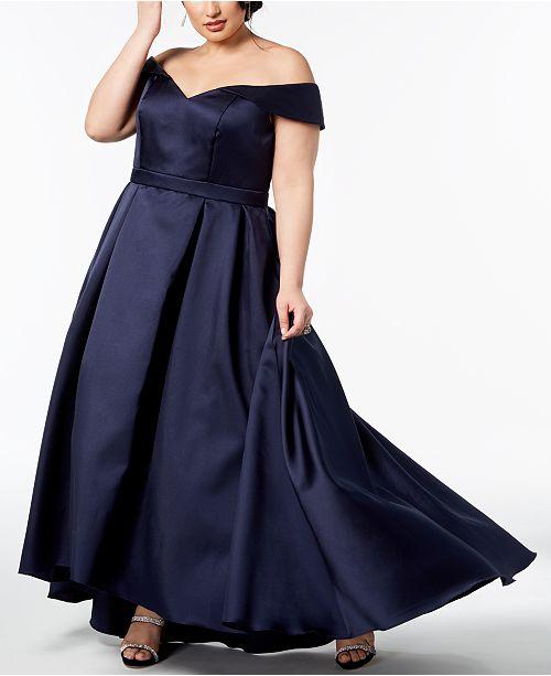 568e2e17 XSCAPE Plus Size Off-The-Shoulder Gown - Dresses - Women - Macy's